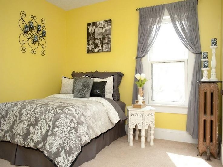 Yellow Bright Paint Colors For Enchanting Bedrooms With Grey Curtains For Glass Window And Floor