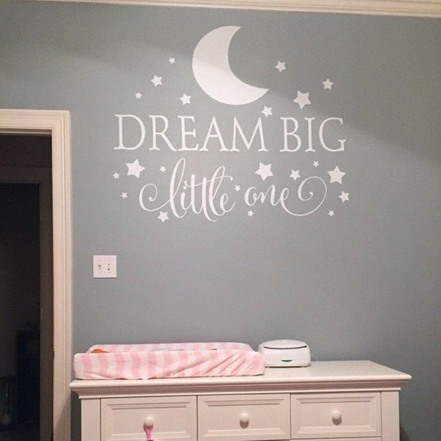 Aliexpress  Buy Dream Big Little One Quotes Wall Decal Nursery Wall Sticker Baby Bedroom