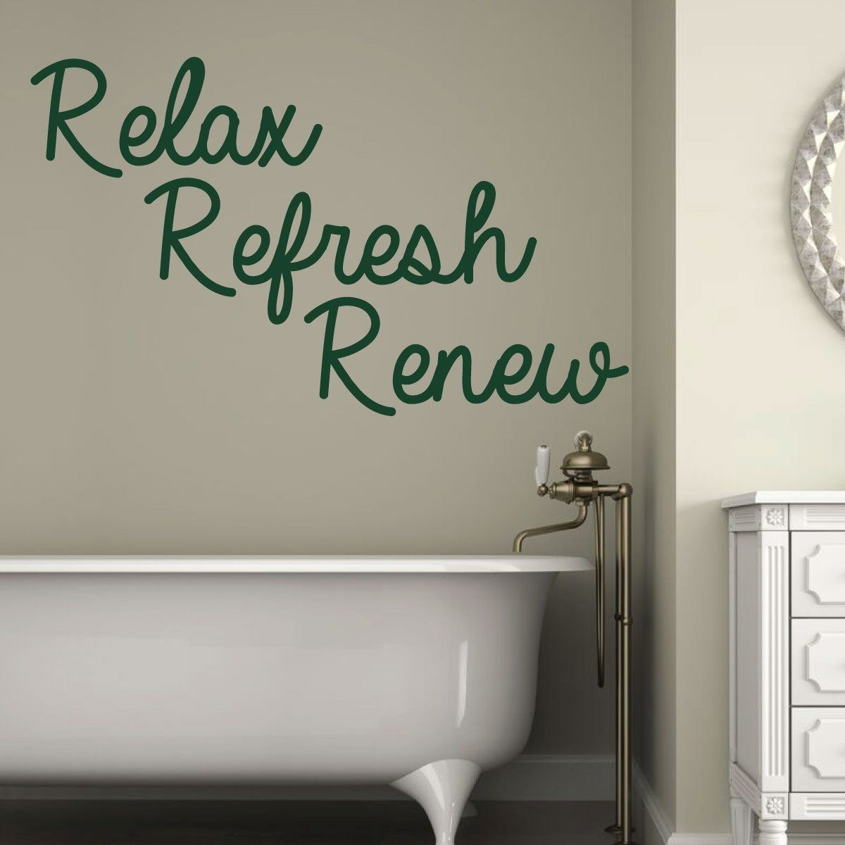 Bath Quote Relax Refresh Renew Removable Bathroom Vinyl Wall Decor Decal  Customvinyldecor