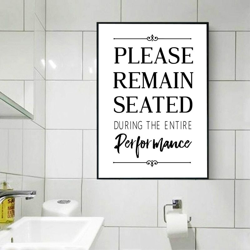 Funny Bathroom Sign Wall Art Canvas Painting Picture Please Remain Seated Funny Quotes