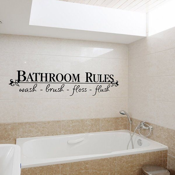 Funny Words And Quotes Bathroom Rules Removable Wall Sticker  Beddinginn