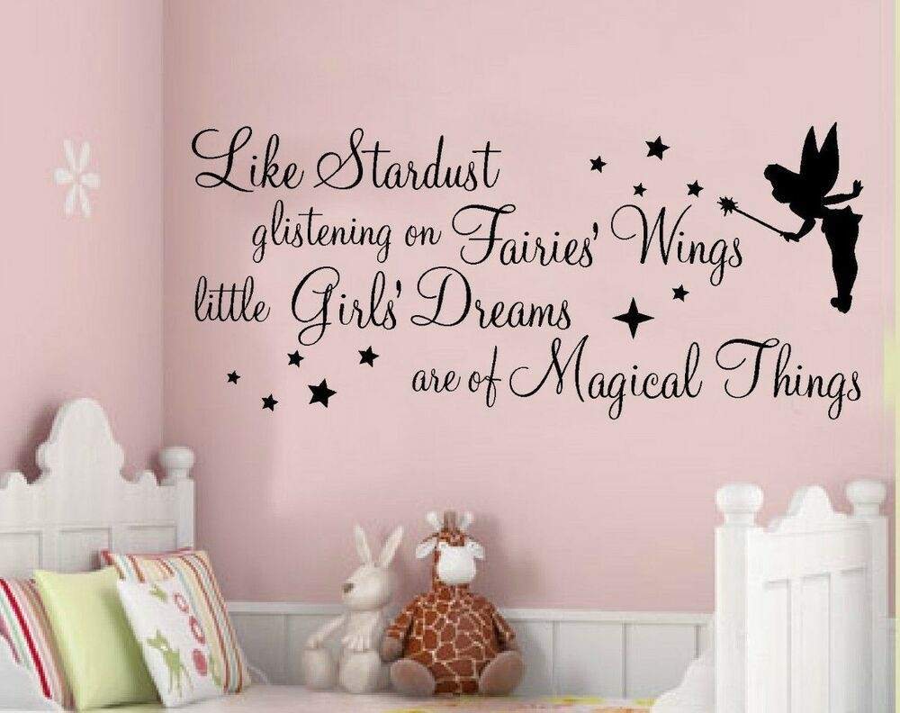 Wall Art Stickers Quotes Fairy Girls Nursery Bedroom Phrases Stardust  Ebay
